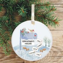 Ceramic Keepsake Mailbox Christmas Tree Decoration - Grandma's/Grandad's House Design